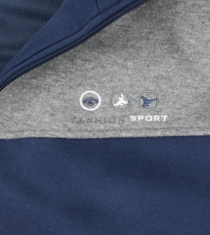 Aleklee two color contrast panel zipper hoodie AL-1436