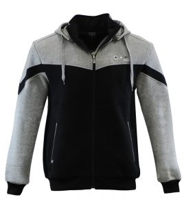 Aleklee two color contrast panel zipper hoodie AL-1436