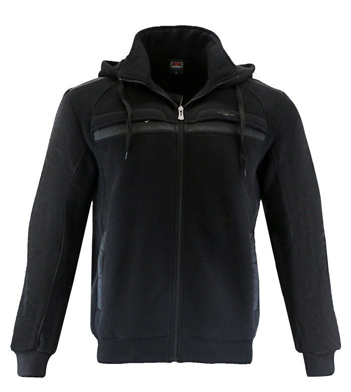 Aleklee black hoodie with chest pocket AL-1453
