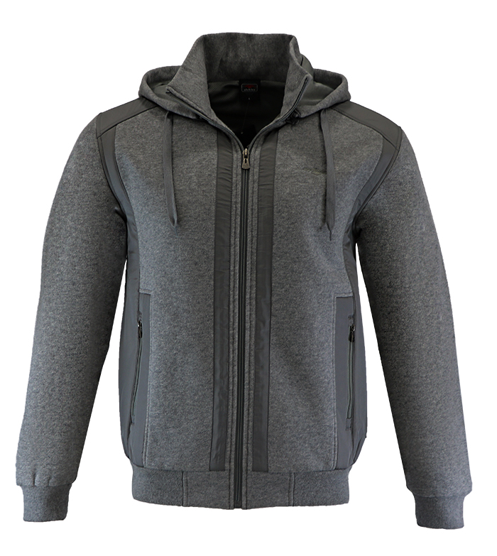 Aleklee patchworked grey jacket hoodie AL-1527