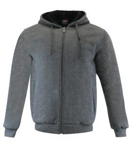 Aleklee gray hooded logo hoodie AL-2074