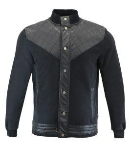 Aleklee leather patchwork hoodie AL-7007