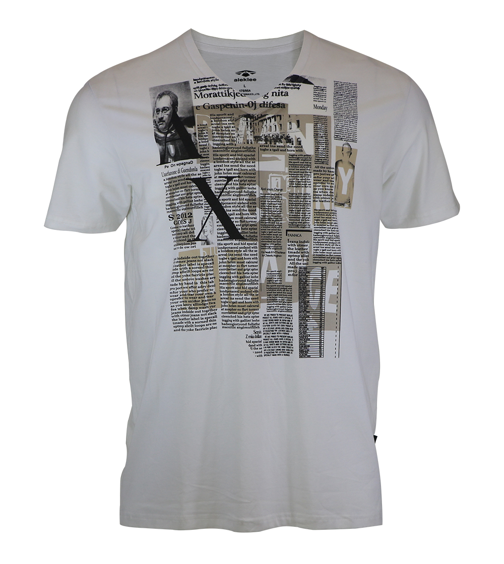 Aleklee v-neck photo print t-shirt AL-6024#