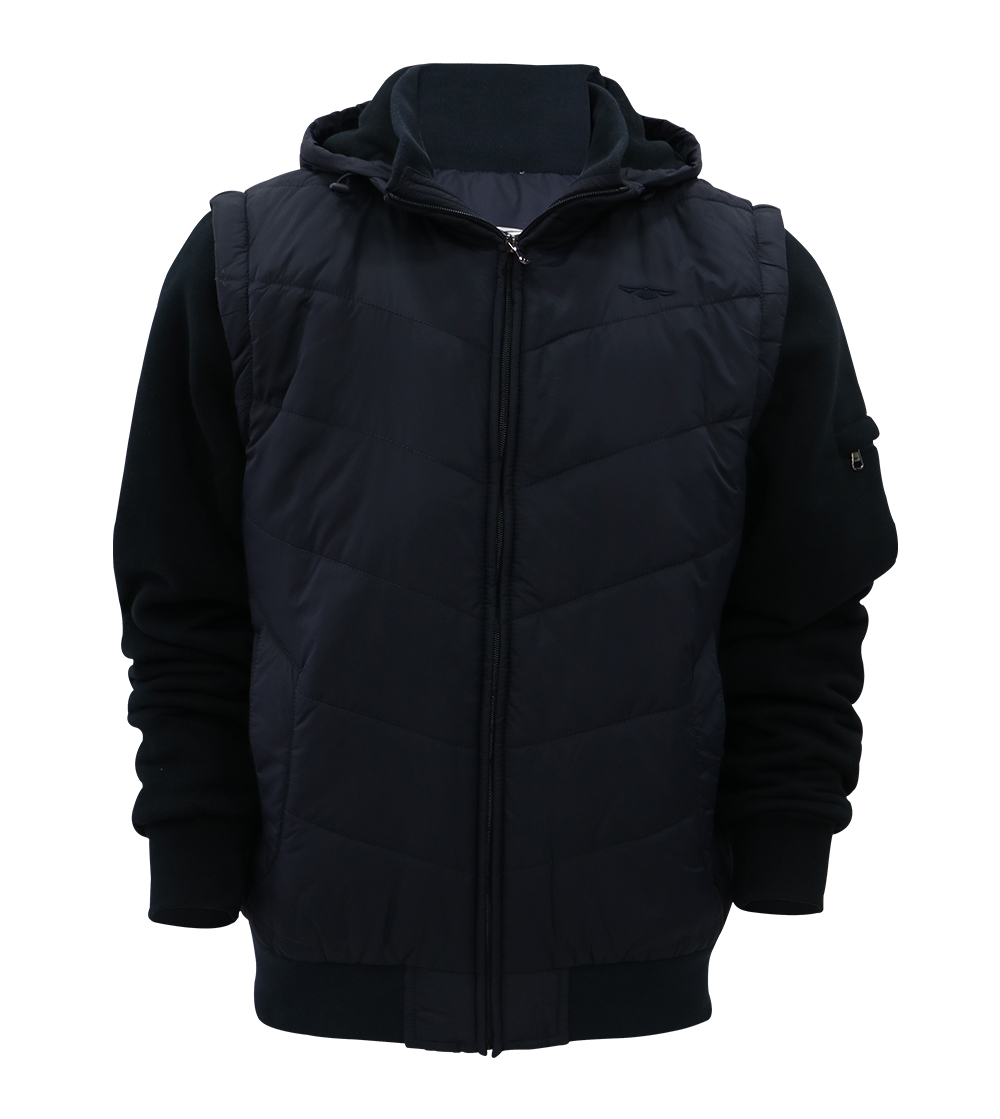 Aleklee quilted cotton-padded hybrid jacket AK-4110#