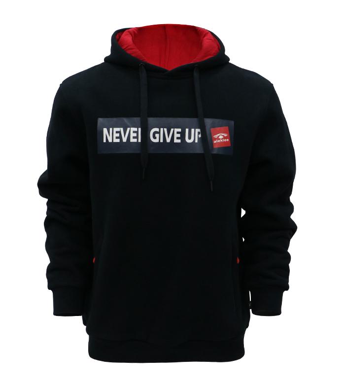 Aleklee chest printed hoodie with colorblock hood lining AL-7831#